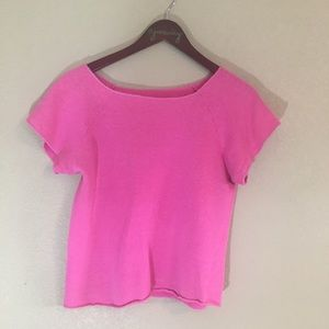 Bright Pink cropped raw edge sweatshirt cute!